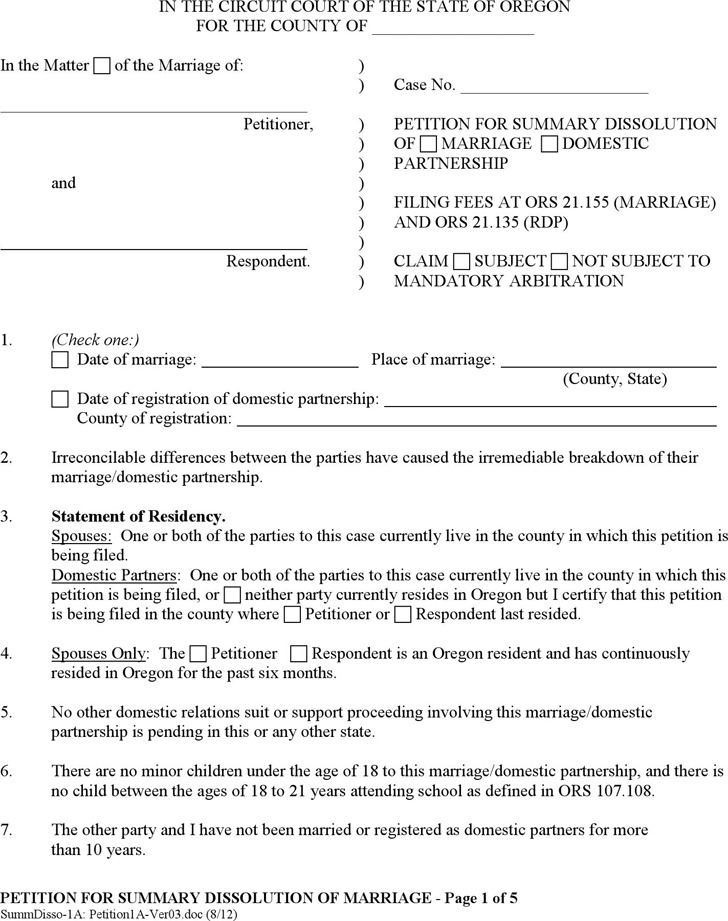 Oregon Petition for Summary Dissolution Form
