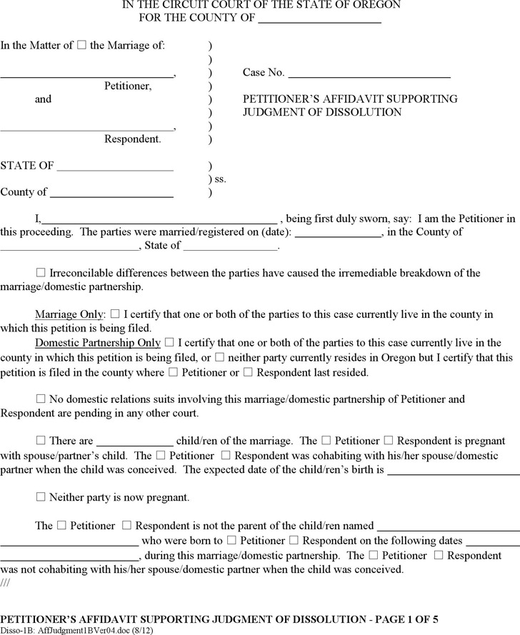 Oregon Petitioner's Affidavit Supporting Judgment of Dissolution (with Children) Form