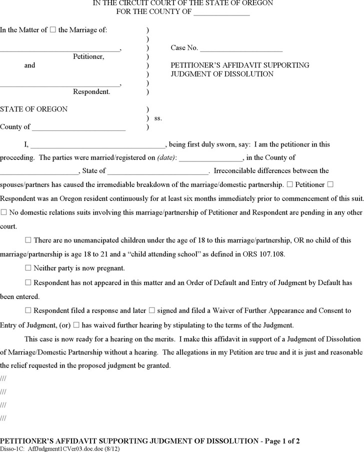 Oregon Petitioner's Affidavit Supporting Judgment of Dissolution (without Children) Form