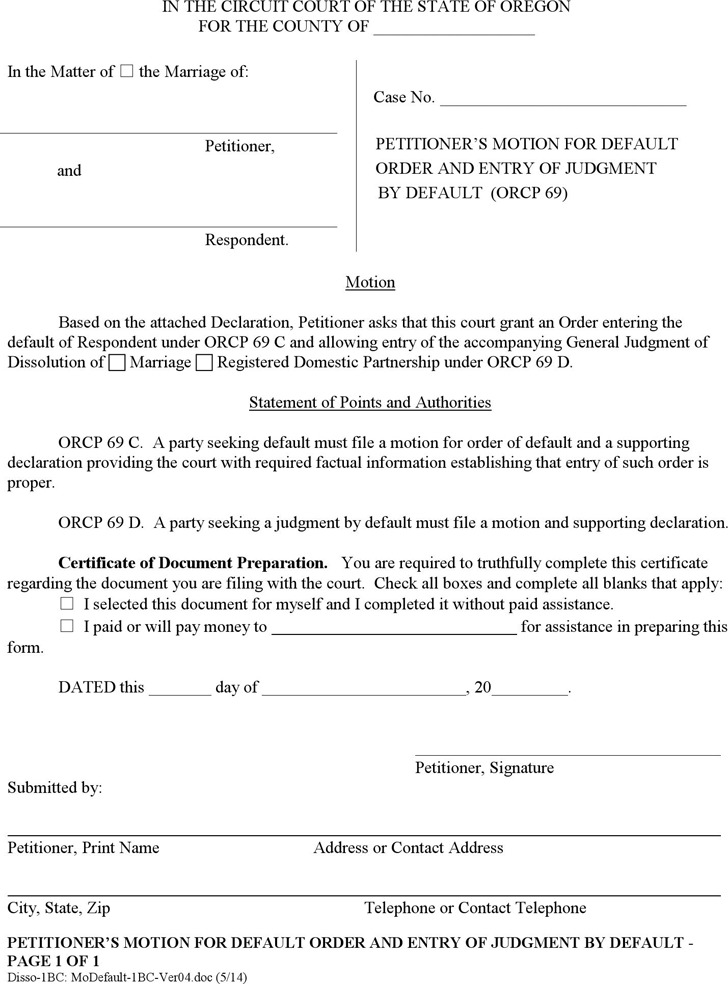 Oregon Petitioner's Motion for Default Order and Entry of Judgment by Default Form