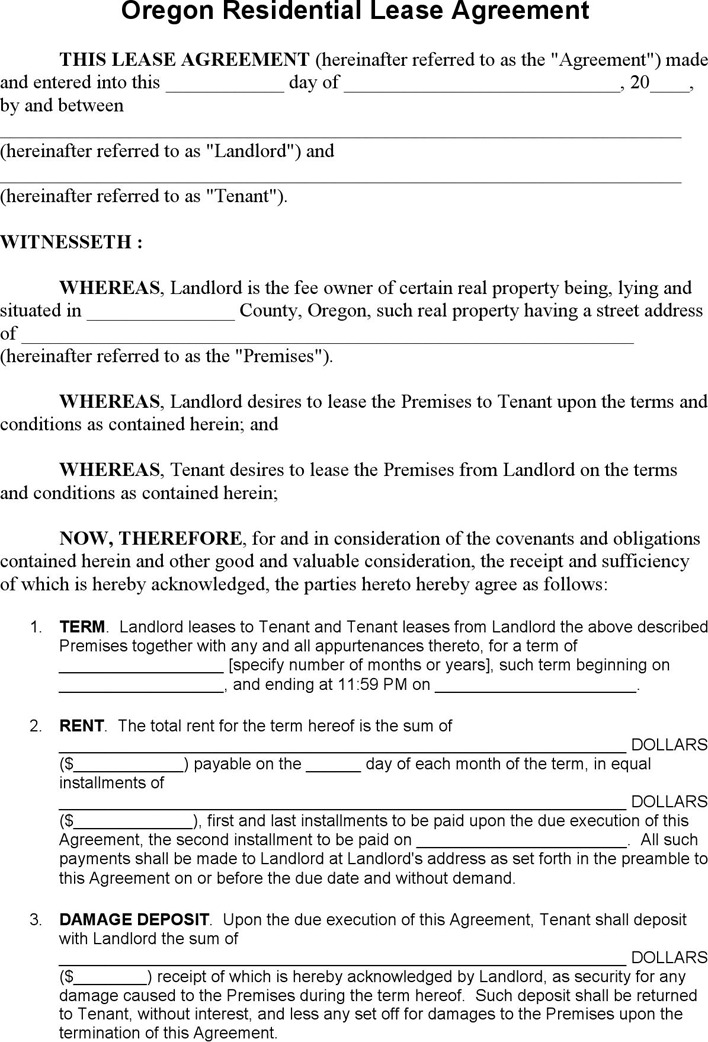 Oregon Residential Lease Agreement Template