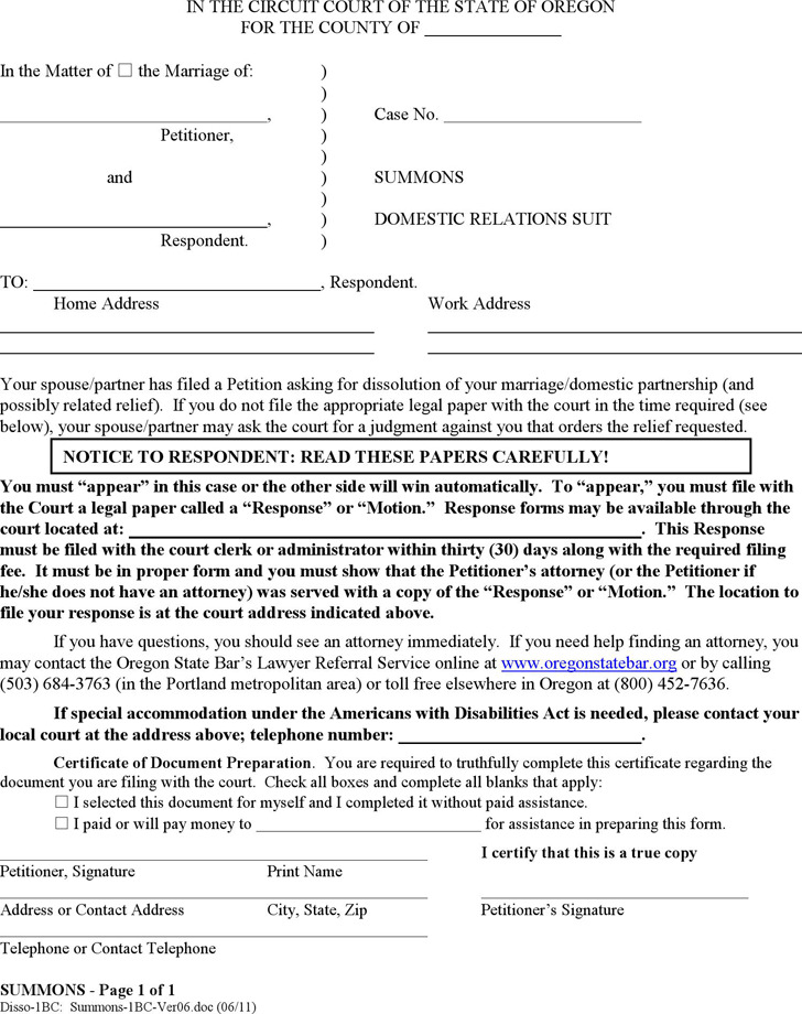 Oregon Summons: Domestic Relations Suit Form
