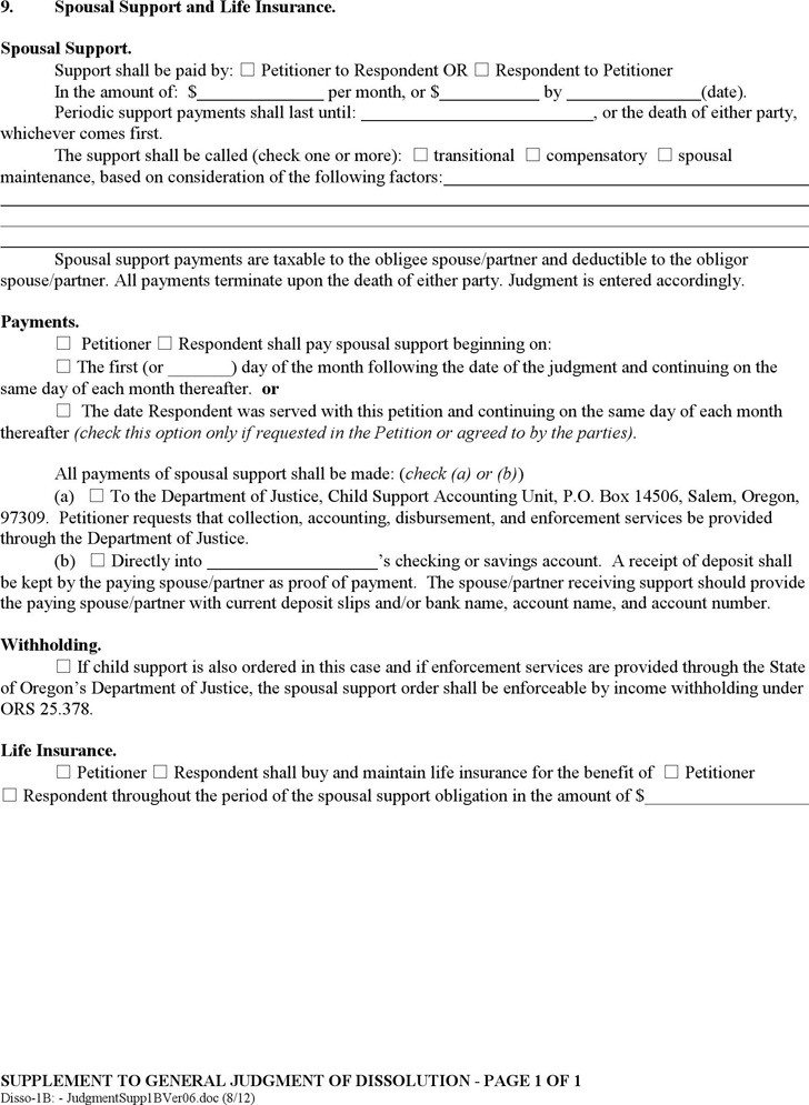 Oregon Supplement to General Judgment of Dissolution Form