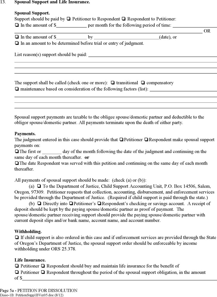 Oregon Supplement to Petition Form