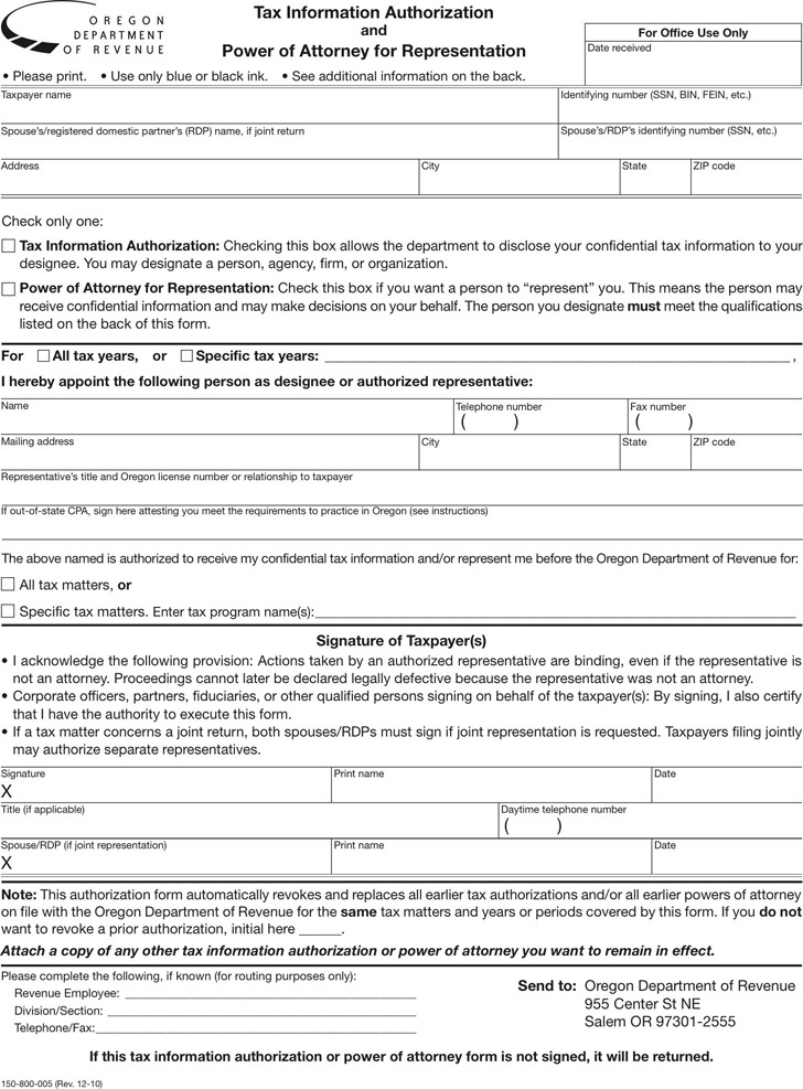 Oregon Tax Power of Attorney Form