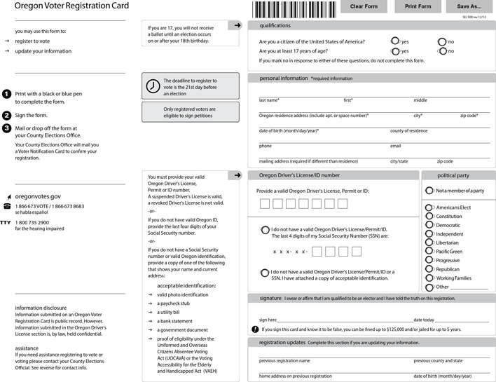 Oregon Voter Registration Card
