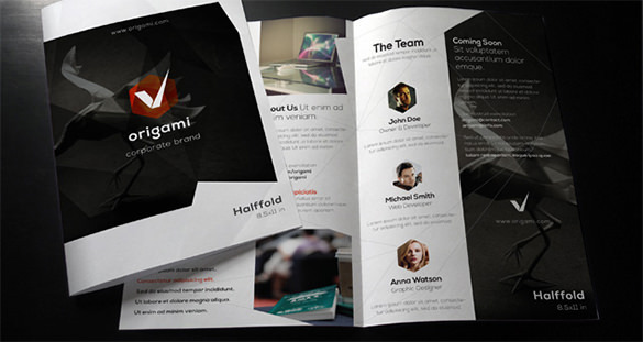 Origami Bi Fold Corporate Brochure Template
