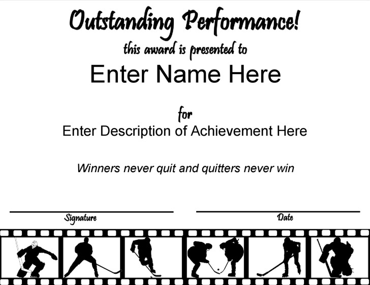 Out Standing Hockey Certificate