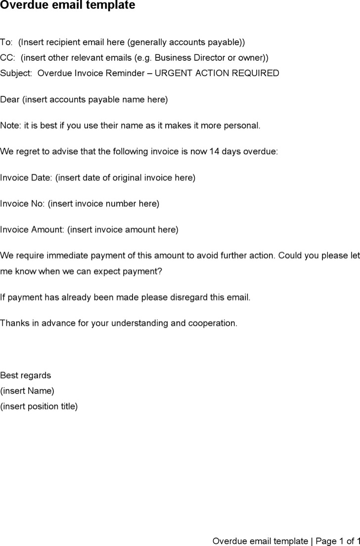 Overdue Invoice Email Letter