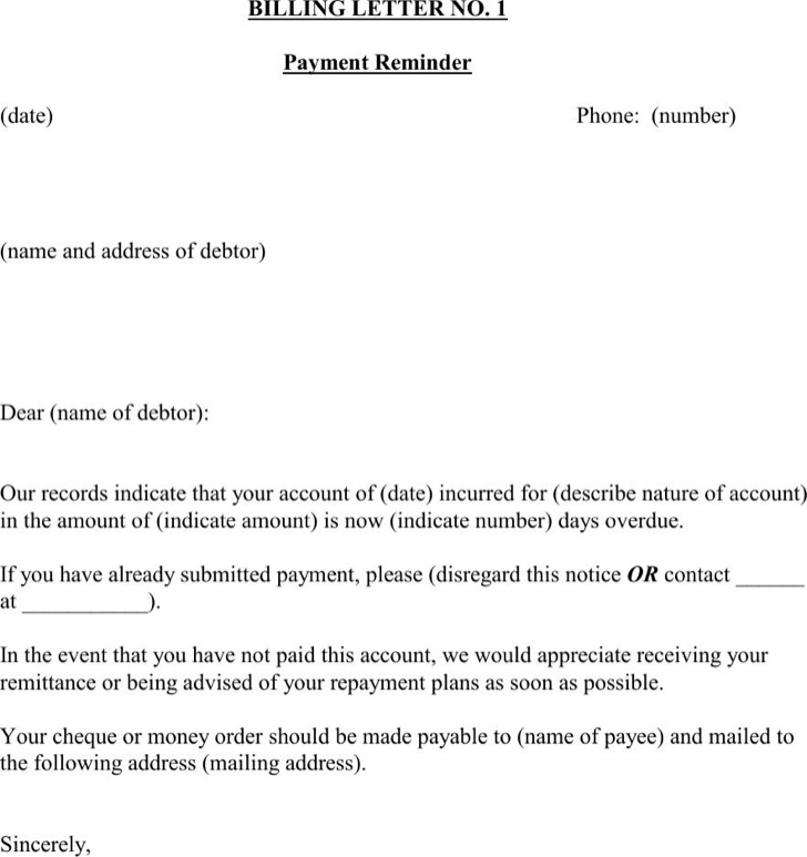 Overdue Payment Reminder Letter.7 Payment Reminder Letter Templates Free Download