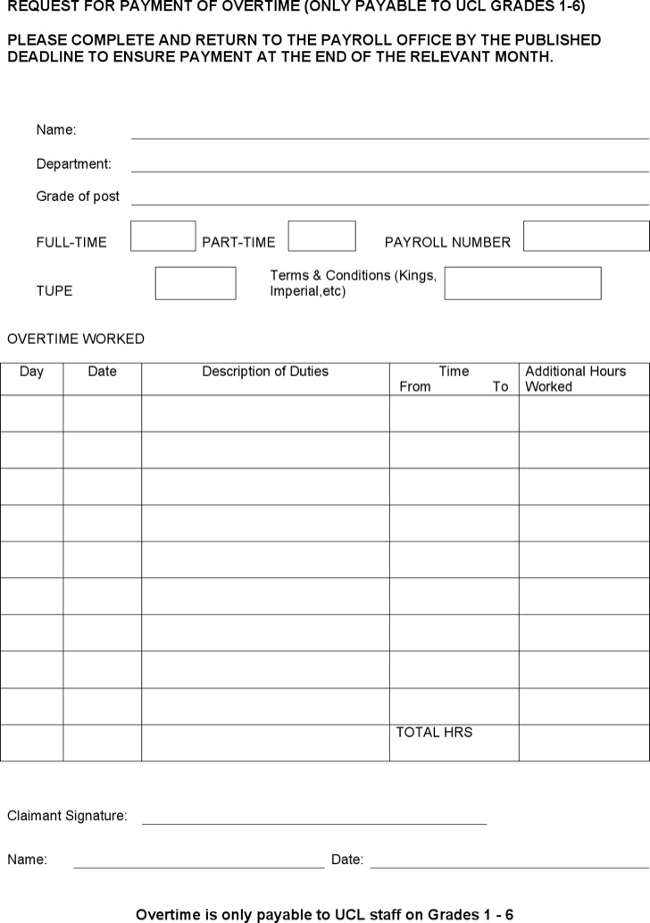 Overtime Sheet Templates  Download Free  Premium Templates