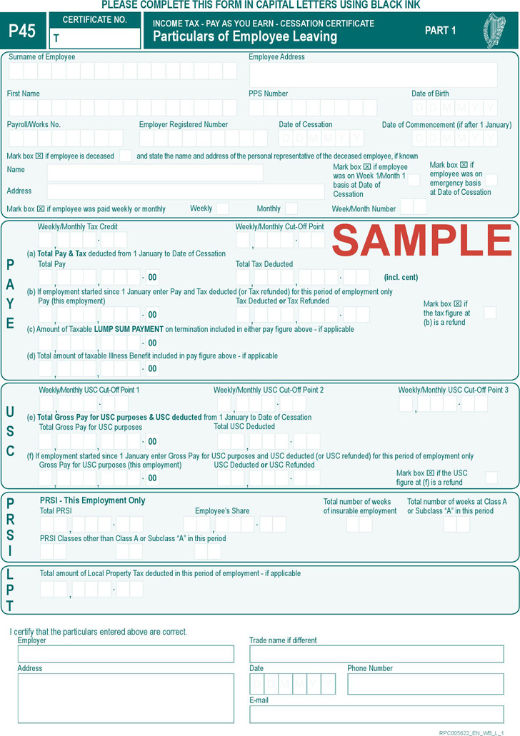 P45 Form Download