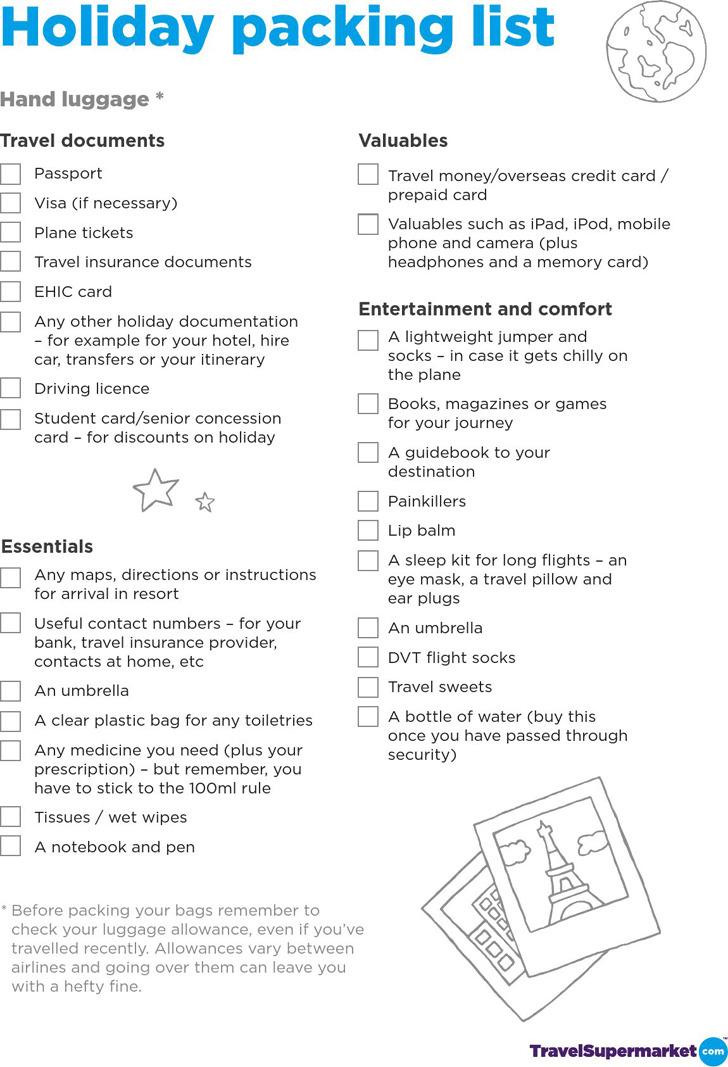 Packing Checklist 5