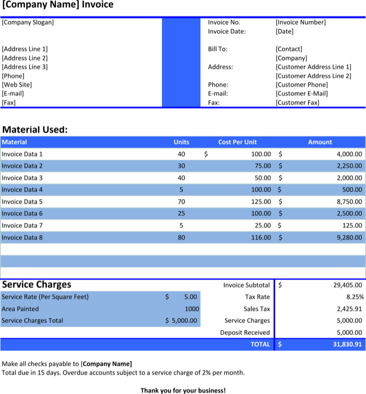 Painting Company Invoice Template