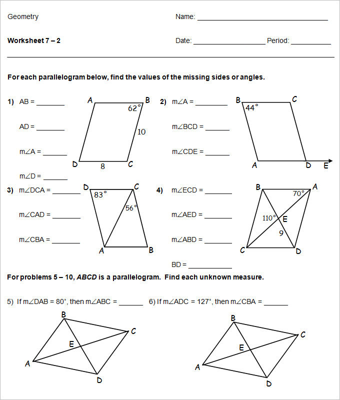 Sample High School Geometry Worksheet Templates – High School Geometry Worksheets