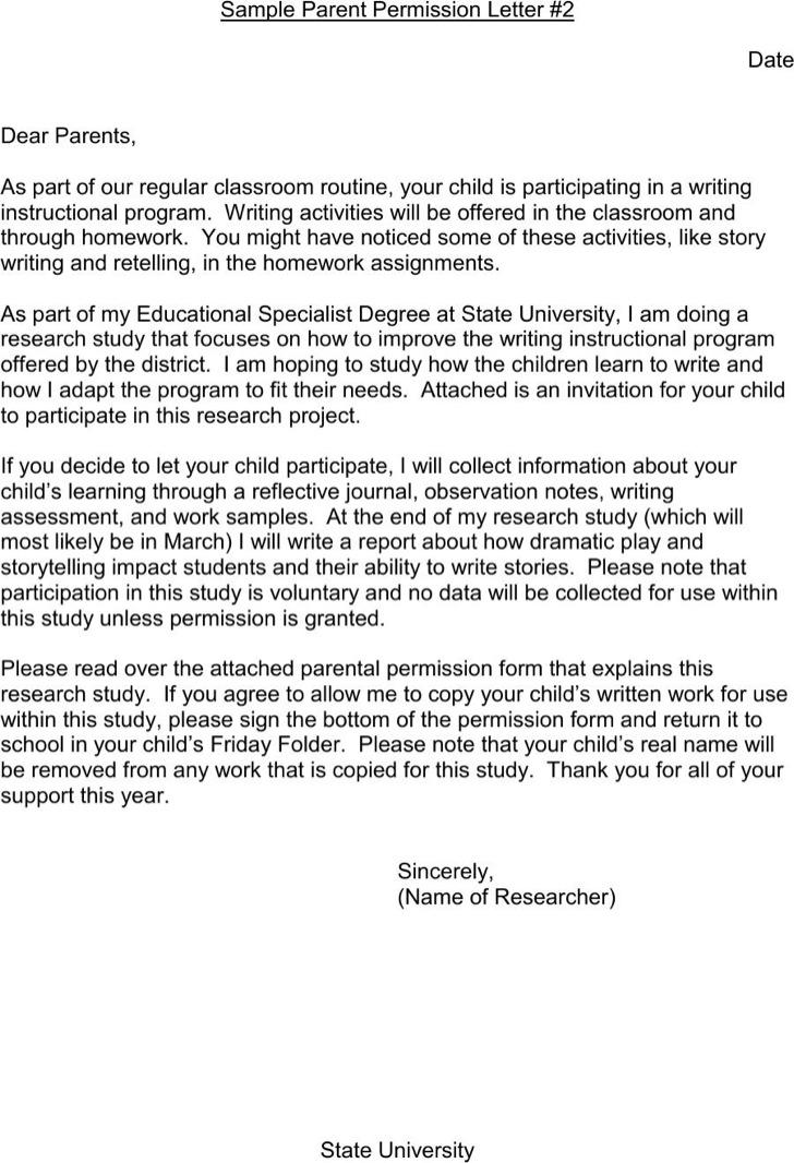 Parent Permission Letter