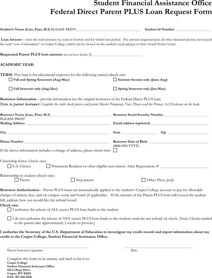 Parent Plus Loan Application Form | Download Free & Premium