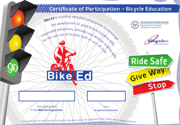 Participation Bike Riding Certificate