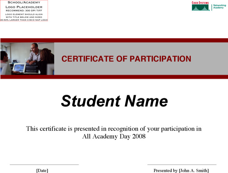 Participation Of Sportsmanship Certificate