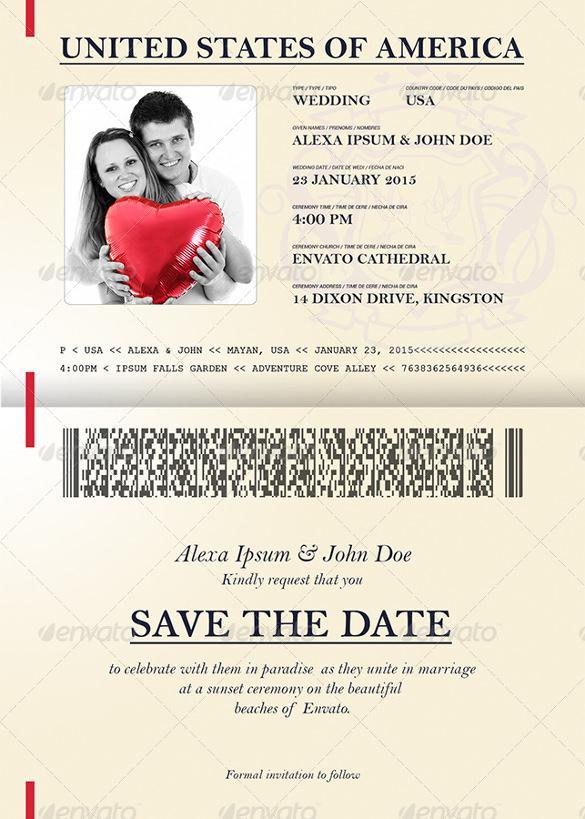Passport Style Wedding Set Invitation Template PSD Download