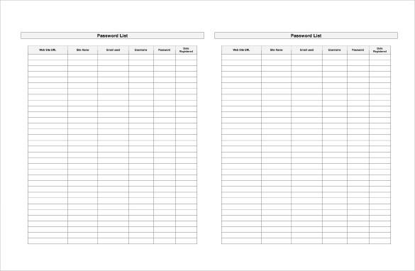 Password List Spreadsheet Word Template