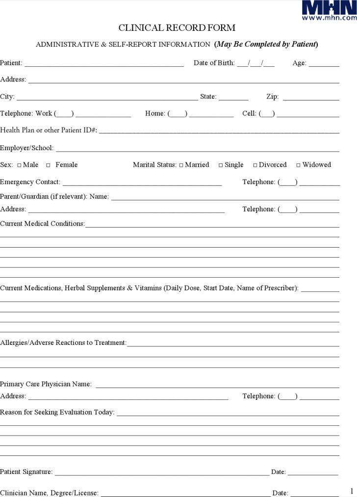 medical progress notes form