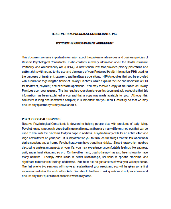 Patient Psychotherapist Confidentiality Agreement Sample