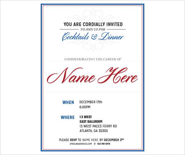 Patriotic Retirement Invitation Template