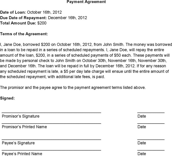 Payment Agreement Contract  Download Free  Premium Templates