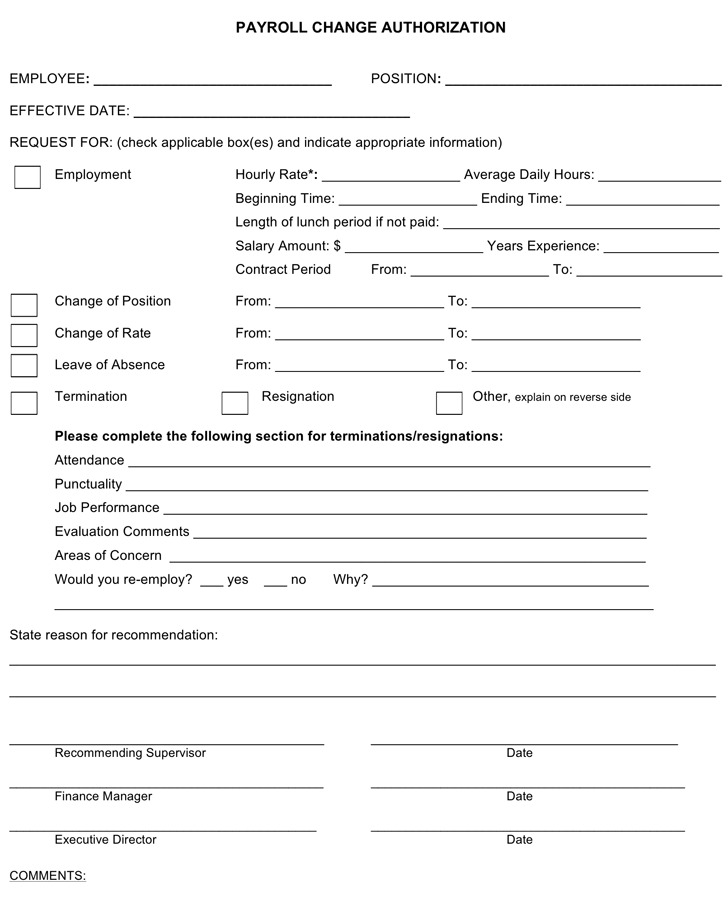 Payroll Change Form  Download Free  Premium Templates Forms