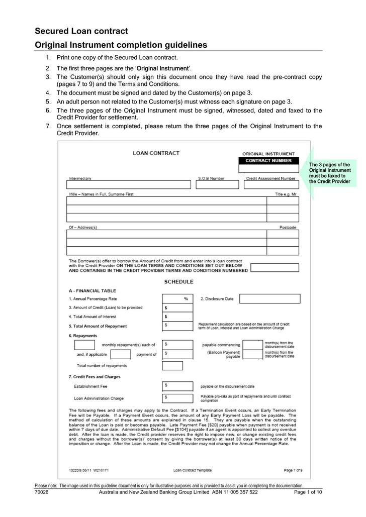 PDF Format Secured Loan Contract Free Template