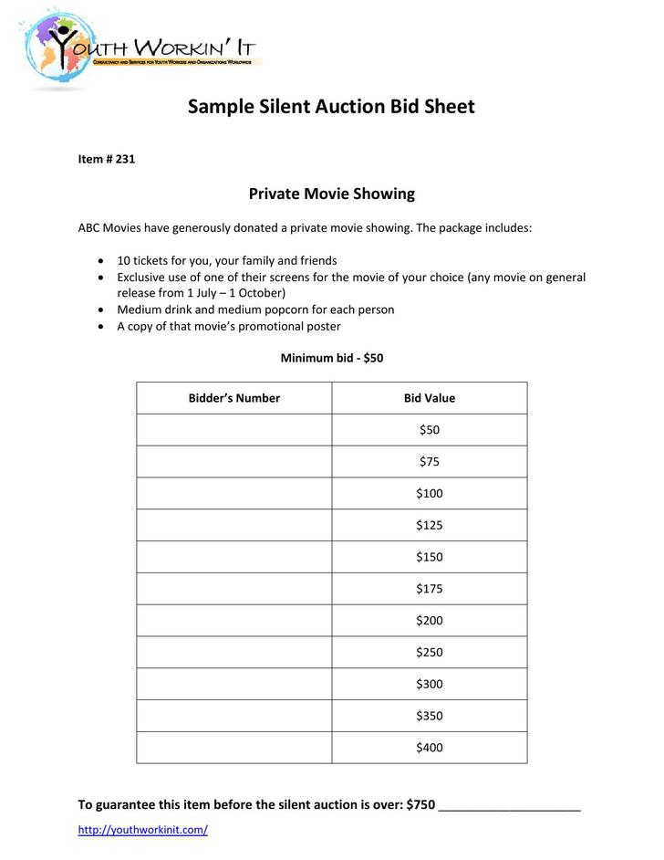 PDF Format Silent Auction Bid Sheet Template Free