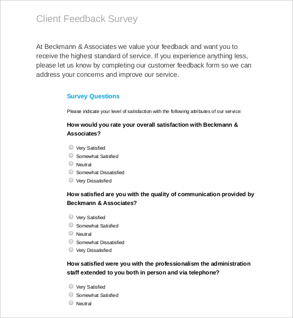 PDF Template for Client Feedback Survey