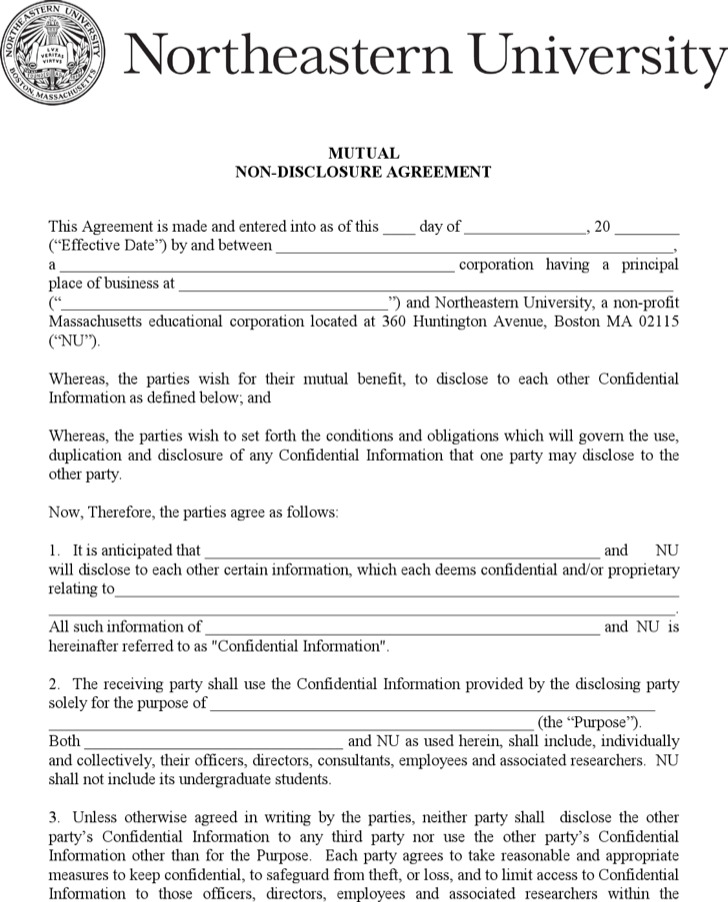 Mutual Non Disclosure Agreement Form  Download Free  Premium