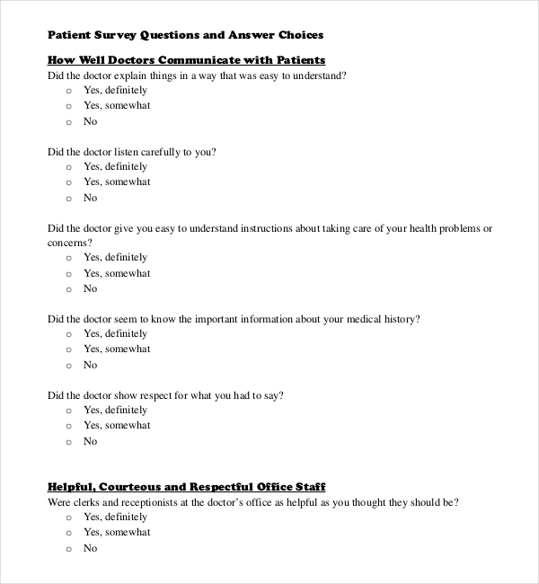 Survey Questions Template  Download Free  Premium Templates