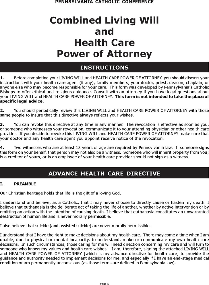 Pennsylvania Combined Living Will and Health Care Power of Attorney Form