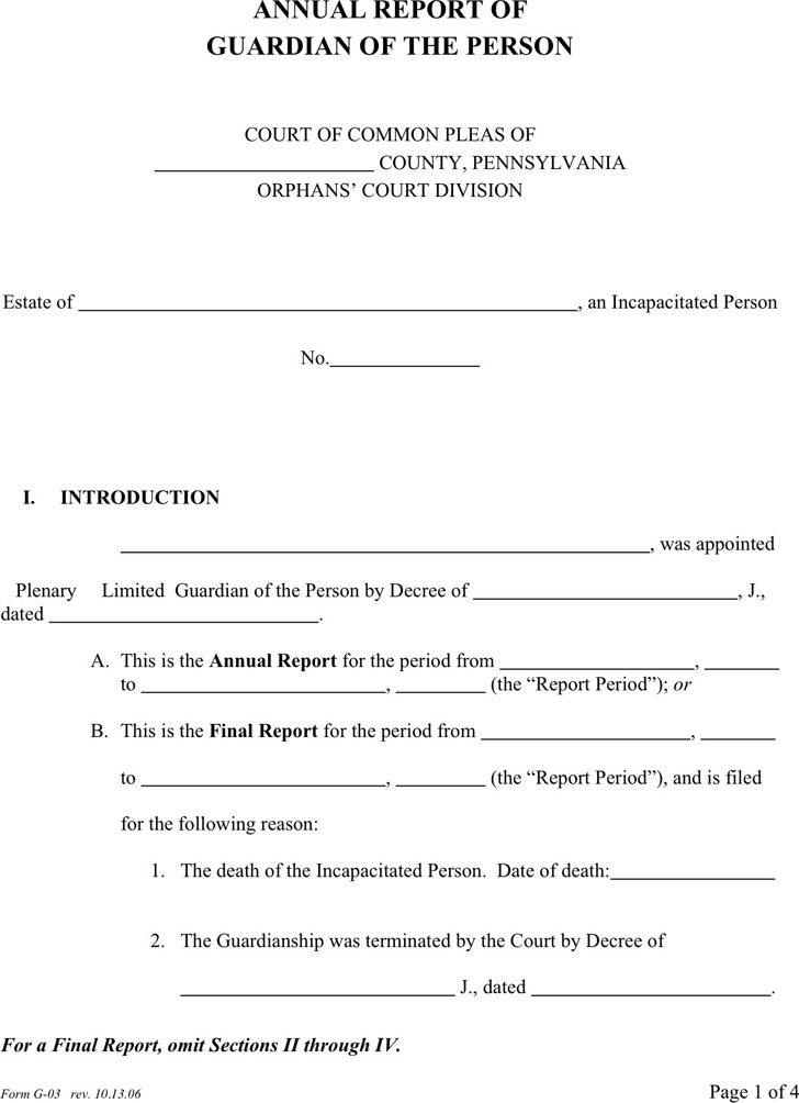 Pennsylvania Guardianship Form 2