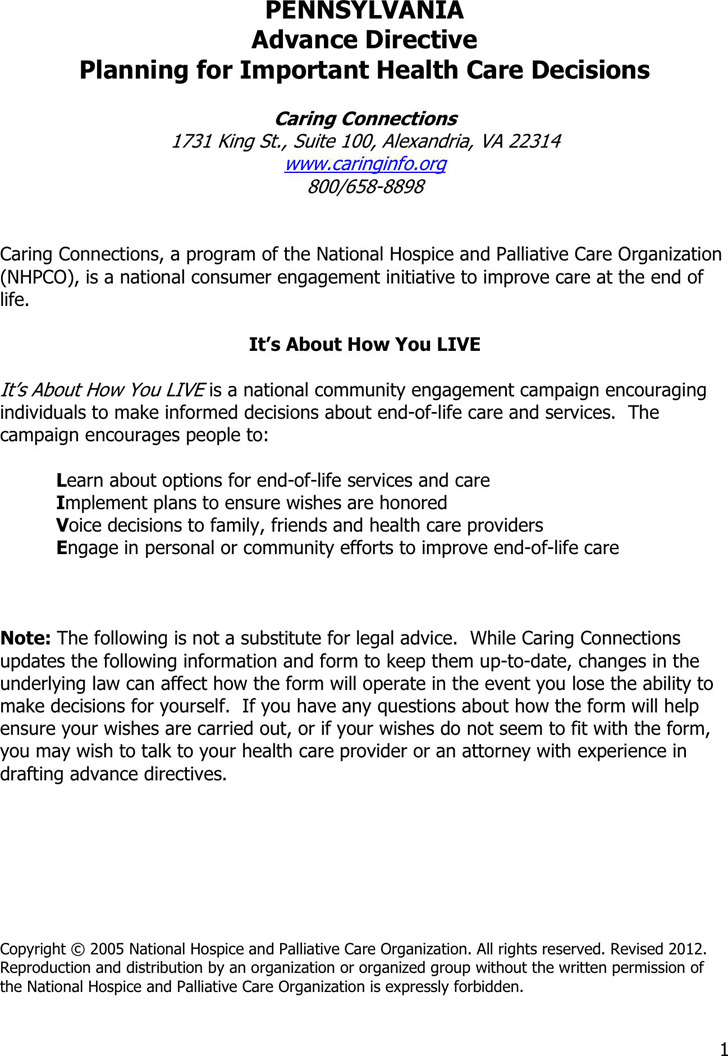 Pennsylvania Health Care Advance Directive Form