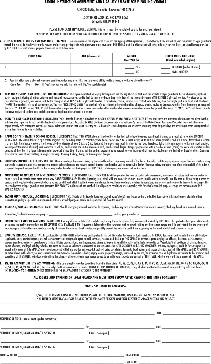 Pennsylvania Liability Release Form For Horse Riding