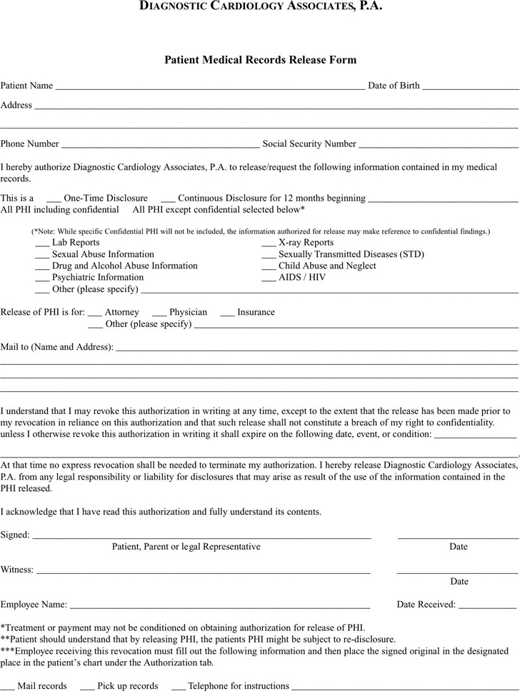 Pennsylvania Medical Records Release Form