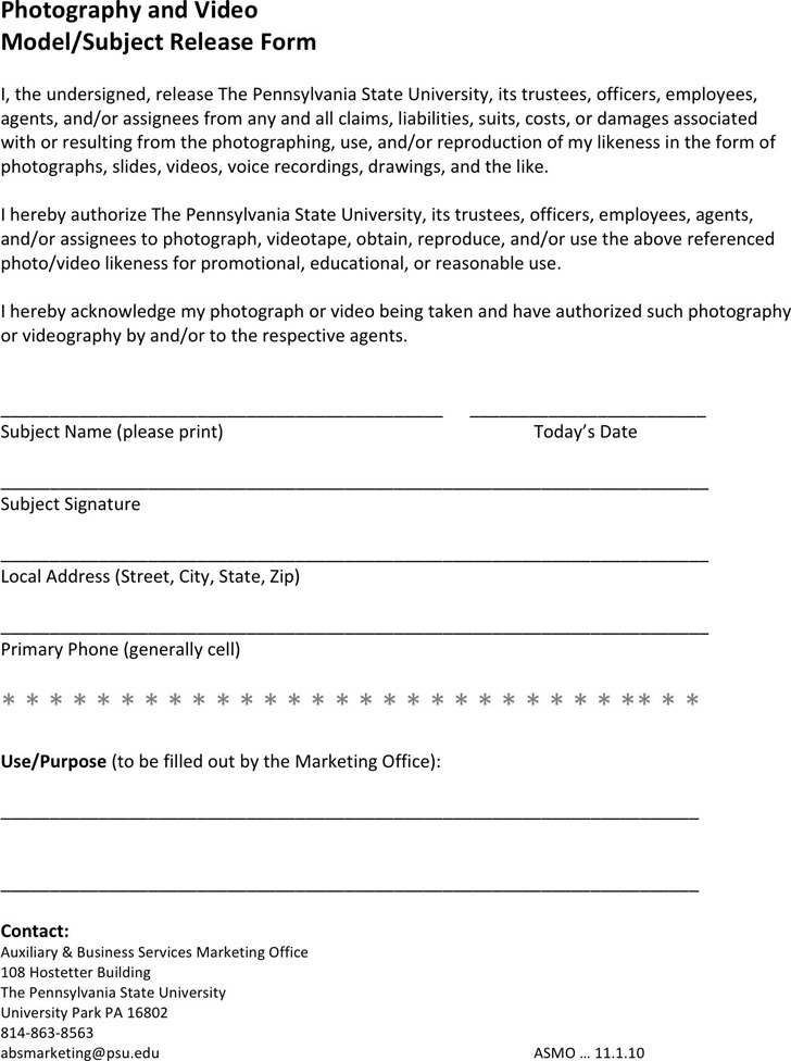Pennsylvania Model Release Form 2