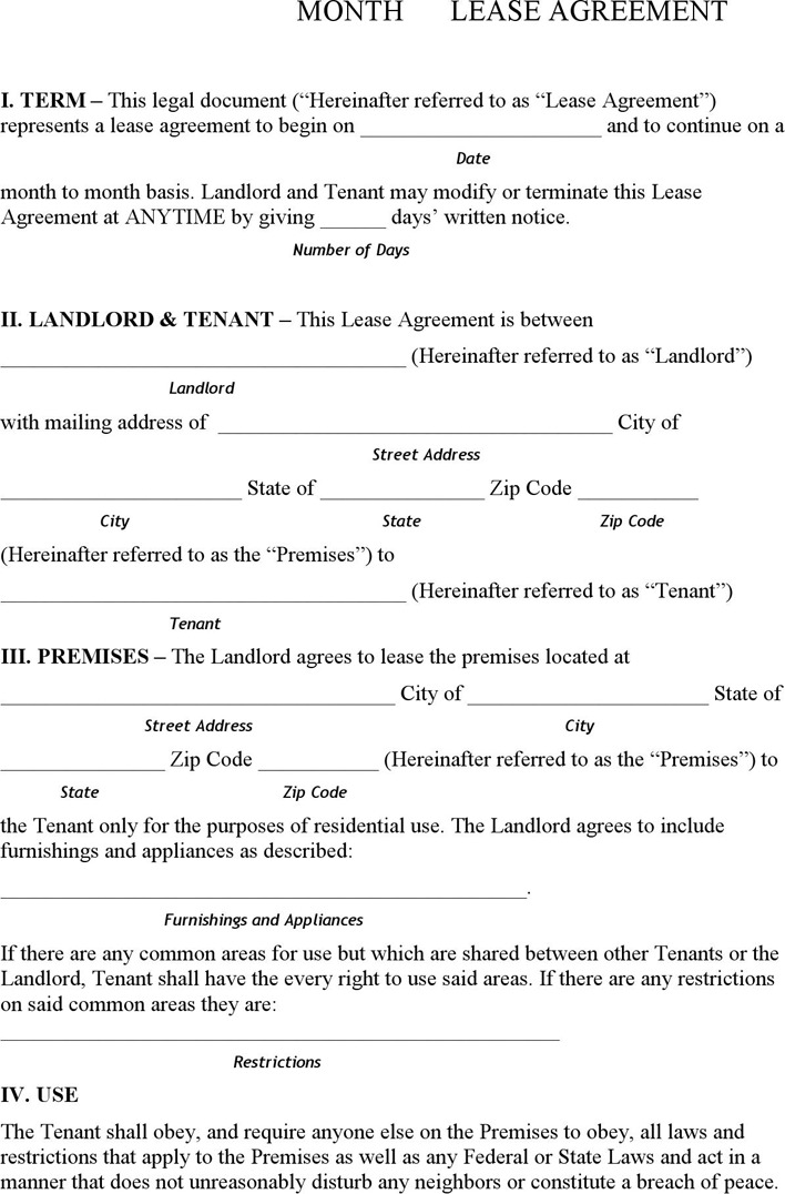 Pennsylvania Month to Month Rental Agreement