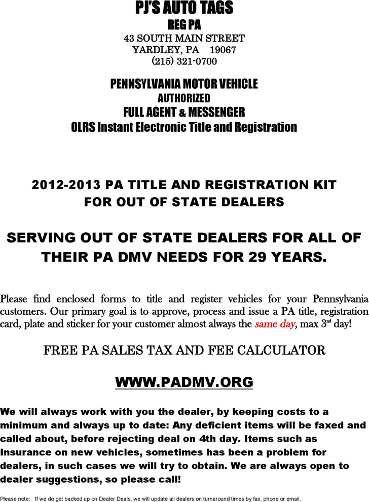 Pennsylvania Motor Vehicle Power of Attorney Form