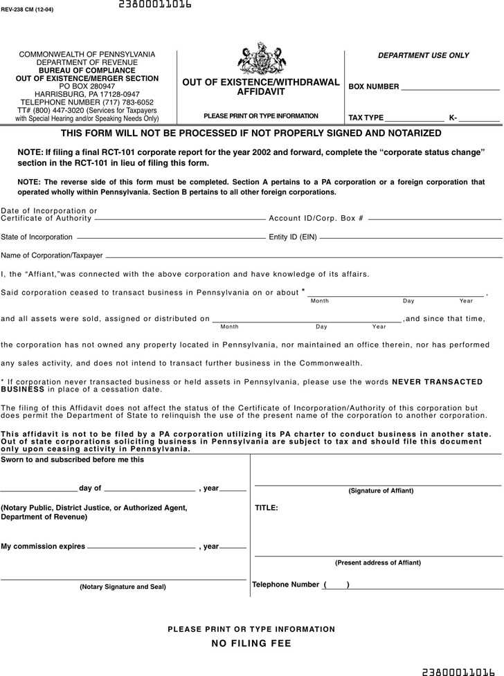 Pennsylvania Out of Existence/Withdrawal Affidavit