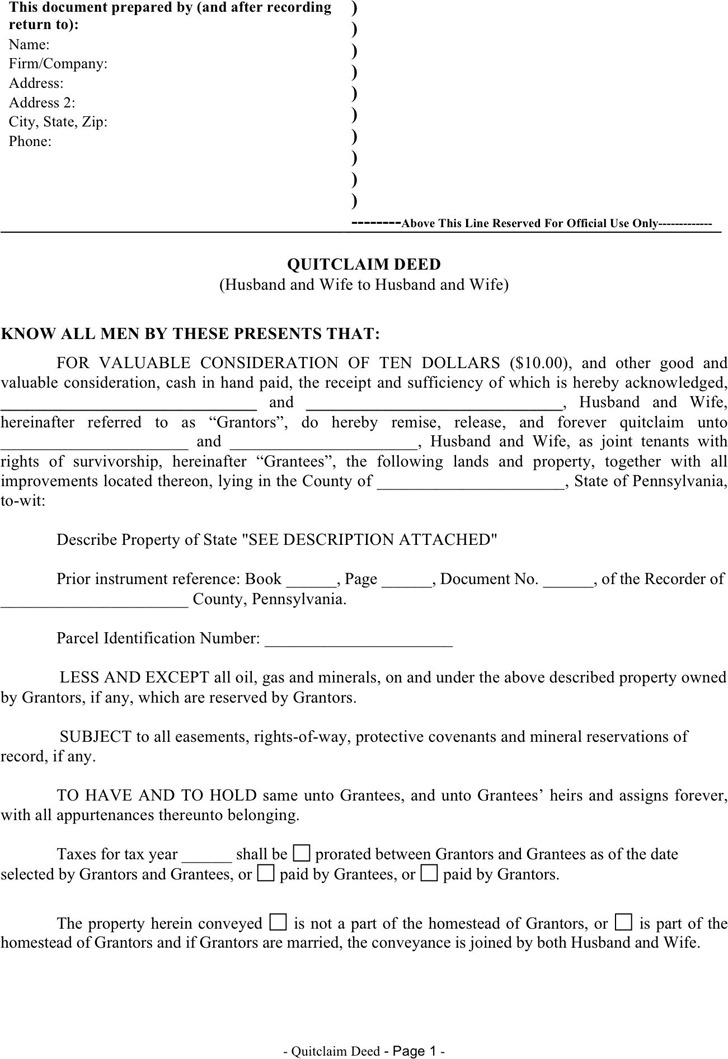 Pennsylvania Quitclaim Deed Form