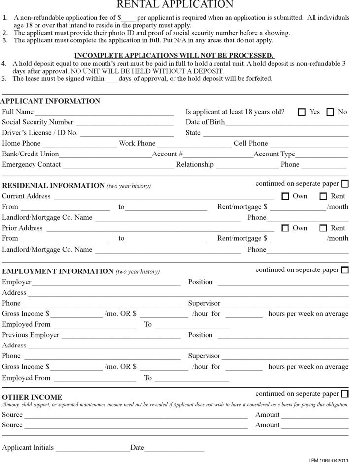 Pennsylvania Rental Application Form