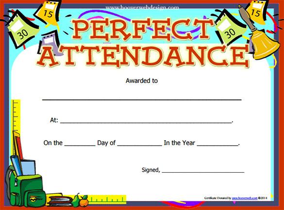 Perfect Attendance Award Template PDF Format