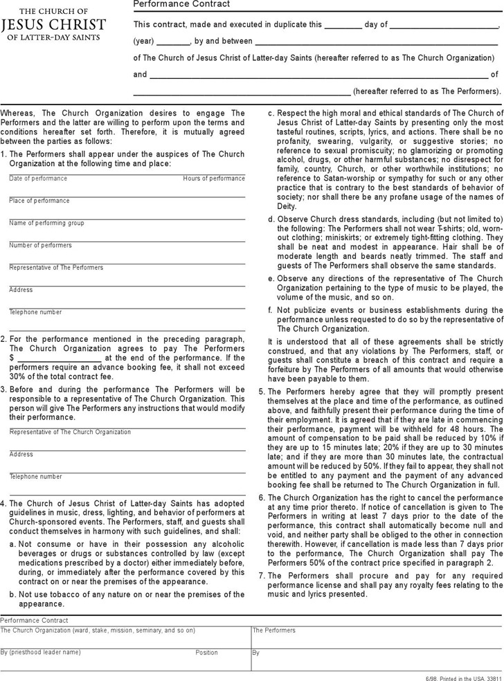 Performance Contract Template – Performance Contract Template