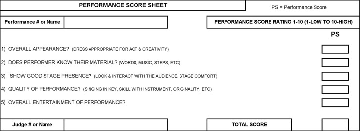 Talent Show Score Sheet – Sample Talent Show Score Sheet