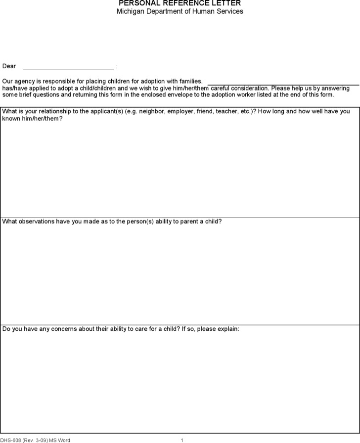 Sample Adoption Reference Letter Templates | Download Free ...